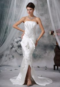 Discount Mermaid Strapless Court Train Satin Wedding Gown with Beading