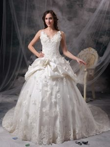 Modern Ivory Princess V-neck Long and Lace Wedding Dress