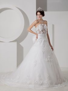 Impressive A-line Strapless Court Train Dresses for Wedding with Appliques