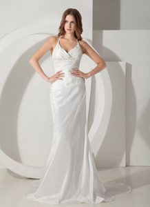 Popular Halter Top Sweep Train Ruched Dress for Brides under 200