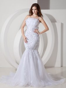 Wonderful Mermaid Spaghetti Court Train Tulle and Lace Wedding Gown