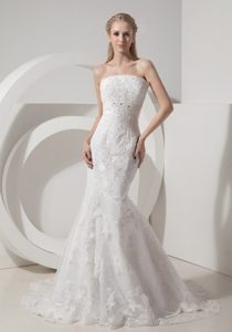 Magnificent Mermaid Chapel Train Lace and Wedding Bridal Gown