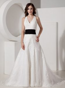 Romantic Halter Top Satin and Lace Appliqued Wedding Gowns with Belt