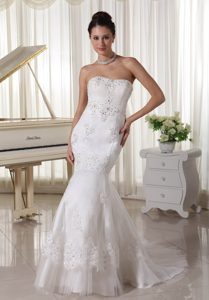 Sweet Beaded Mermaid Tulle and Wedding Dress with Sweep Train