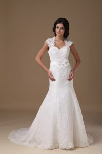 Mermaid Sweetheart Brush Train Lace Beaded Wedding Bridal Dress for Cheap