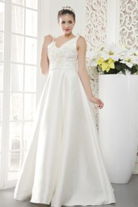 Brand New A-line V-neck Satin Beaded Wedding Dress with Appliques for Cheap
