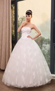 Popular Lace Beaded Strapless A-line Church Wedding Bridal Dress for Cheap