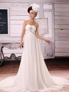 White Simple Sweetheart Chiffon A-Line Court Train Wedding Reception Dress