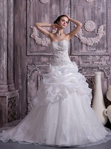 A-line Strapless Chapel Train Organza Wedding Dress with Beading and Pick-ups