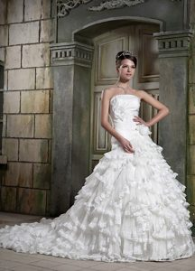 Modern Strapless Organza and Wedding Dress