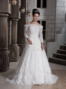 Lovely A-line off the Shoulder Brush Train Tulle Appliqued Wedding Dresses