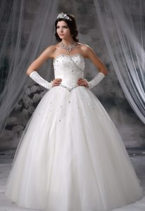 Attractive Ball Gown Tulle Wedding Dress with Beading and Ruching for Cheap