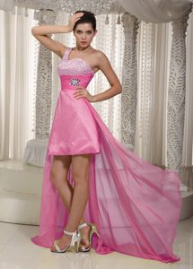 Pink A-line One Shoulder High-low Prom Dress for Graduation in and Chiffon