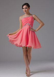 Custom Made One Shoulder Pageant Graduation Dresses in Watermelon with Ruches