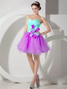 A-line Sweetheart Mini Organza College Graduation Dresses in Apple Green and Purple
