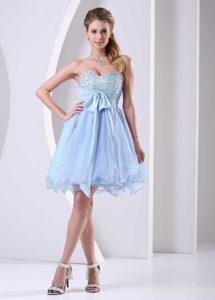 Light Blue Sweetheart Beaded Chiffon Middle School Graduation Dress with Bow Sash