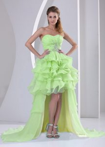 Organza High-low Sweetheart 2013 Yellow Green Graduation Dresses with Ruffles