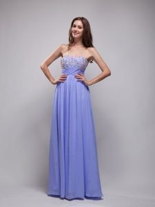 Lilac Empire Strapless Long Chiffon University Graduation Dress with Beading