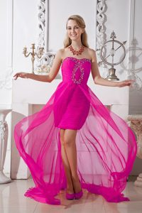 Hot Pink Strapless High-low Chiffon Formal Graduation Dresses with Beads