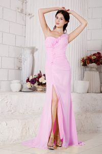 Pink Empire One Shoulder Evening Dress for Graduation
