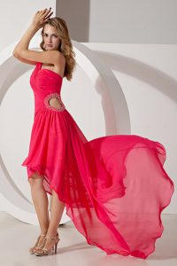 Hot Pink One Shoulder High-low Graduation Ceremony Dress with Beads