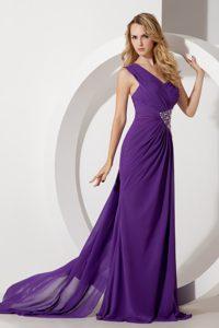 Purple One Shoulder Beaded Middle School Graduation Dress with Watteau