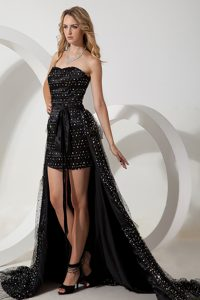 Black Sweetheart Formal Graduation Dresses with High-low and Sequins
