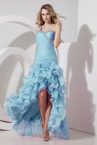 Aqua Blue One Shoulder Prom Dress for graduation with Ruffles and Hi-Lo