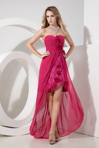 Hot Pink Sweetheart Hi-lo Flowery University Graduation Dress and Lace