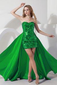 Detachable Green Mini-length Graduation Dresses for High School with Shining Sequin