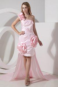 One Shoulder Detachable Hi-Lo Pink Graduation Dresses