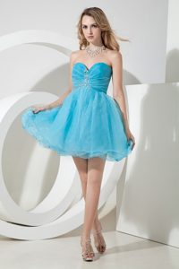 Princess Sweetheart Mini Organza Beaded Formal Graduation Dresses in Aqua Blue