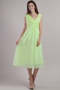Empire V-neck Ankle-length Chiffon Prom Graduation Dresses in Yellow Green