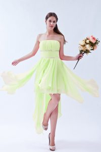 Yellow Green Strapless Asymmetrical Graduation Dress with Beading