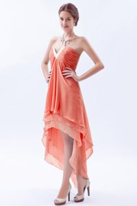 Orange A-line V-neck High-low Prom Graduation Dress with Ruching