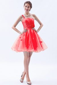 Red Single Shoulder Appliqued Graduation Dress in Organza with Hand Flowers