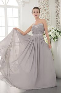 Grey Sweetheart Chiffon Beaded and Ruched Prom Graduation Dress for Cheap