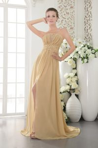 Gold Empire Strapless Ruched Prom Graduation Dress with Appliques