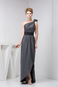 Grey Asymmetrical Long Dresses for Party with Ruching and Belt