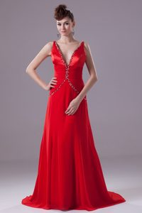 Red V-neck Brush Train Chiffon Party Dress for Prom with Beading and Ruching