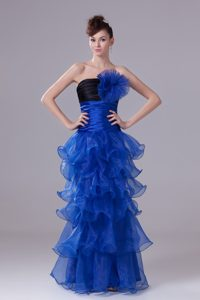 Blue Strapless Long Prom Dress for Party with Ruffles in Organza for Cheap