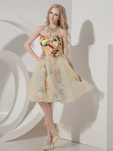 Colorful Knee-length Printing Short Prom Graduation Dress with Beading for Less