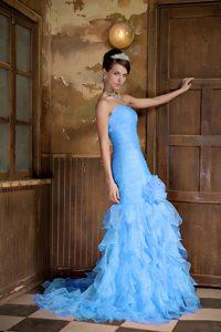 Light Blue Mermaid Sweetheart Graduation Dresses