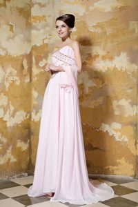 Light Pink Empire Sweetheart Beaded Dress for Graduation for Cheap