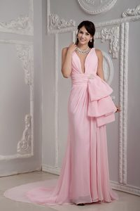Baby Pink Empire V-neck Graduation Dress with Ruching for Cheap