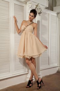 Simple Champagne Graduation Dress with Appliqued Single Shoulder