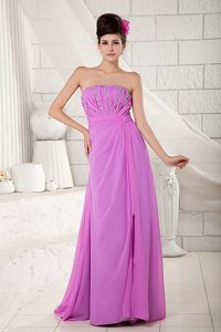 Elegant Lavender Strapless Long Chiffon Graduation Dress with Beading