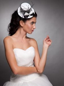 White and Black Beaded Bowknot Net Yarn Bridal Fascinators