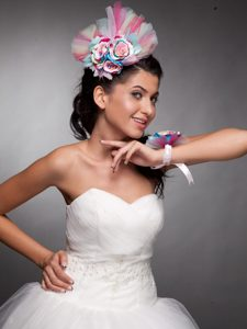 Beautiful Tulle Hand Made Flowers Colorful Headpieces and Wrist Corsage