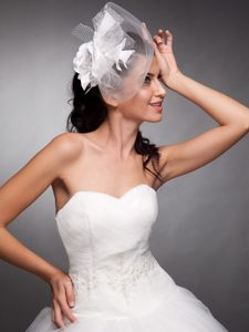 Beautiful Taffeta and Net Pearls Net Yarn Bridal Fascinators